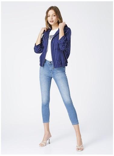 NetWork Network Kadın Çizgili Lacivert-Beyaz Kapüşonlu Uzun Kol Ceket Lacivert